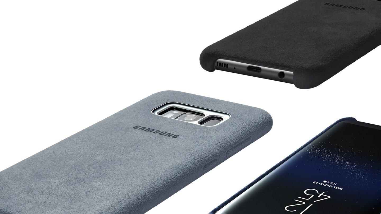 cache Galaxy S8 etui alcantara Cover original
